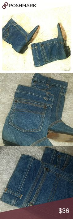 Retro Denim Boots The sole needs to be glued.  Shoe glue and a clamp, no problem.  😉 these are so fantastic 1984 doesn't even want them back.  Short cut booties.  True denim.  Size 7 1/2. no brand Shoes Ankle Boots & Booties