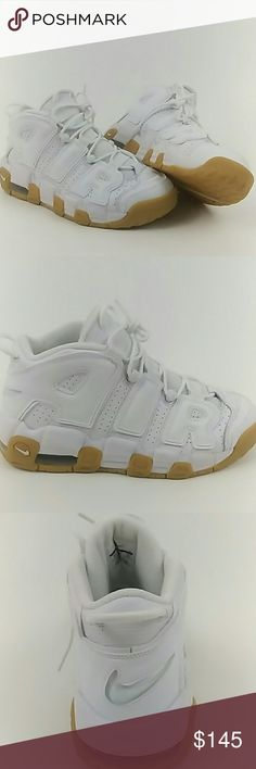 NWOB White Nike Air more uptempo GS 7Y Gum bottom NWOB White Nike Air More Uptempo GS 7Y Gum bottom. They will fit a men's size 7 or women's size 8.5 New without a box. Nike Shoes Athletic Shoes