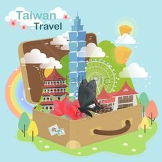 High Quality Images for You. adorable Taiwan travel concept - attractions in luggage Taiwan Travel, Asia Travel, High Quality Images, Cities, Concept, Stock Photos, Graphic Design, Abstract, City