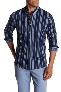 Fit: this style fits true to size. Button down collar. Long sleeves with single barrel cuff. length (size M). Striped Long Sleeve Shirt, Long Sleeve Shirts, Slate Stone, Office Looks, Button Down Collar, Stripe Print, Men Casual, Nordstrom, Mens Fashion