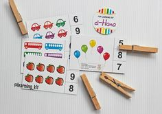 Counting : counting the picture on the card and then answered by clamping wood