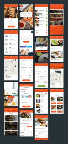 The simple layout of the app 'Food & Resto' makes the ordering process incredibly easy. It is perfect, fresh and stylish UI Kit for building your own food delivery app. All components are vector based, fully compatible, and editable. Ios App Design, Web Design Mobile, Android App Design, Login Design, Android Ui, Dashboard Design, Ui Design Tutorial, Wireframe Mobile, Mobile App Ui