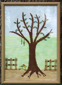 Tree - needs translation for me! Bobbin Lace Patterns, Lace Flowers, Moose Art, Trees, Leaves, Fruit, Painting, Animals, Bobbin Lace