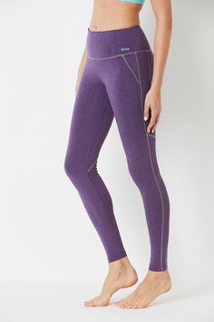 b7d52484453aab Yoga Contrast Stitch Bamboo Leggings - Purple Marl