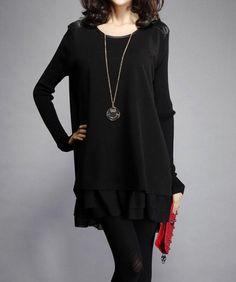 Stylish Women's Scoop Neck Long Sleeve Color Block Oversized Dress