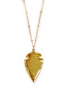 gold ARROWHEAD necklace  small version by keijewelry on Etsy