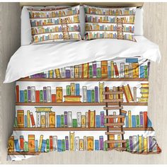 Ambesonne Modern Library Bookshelf with A Ladder School Education Campus Life Caricature Illustration Duvet Set Size: Queen