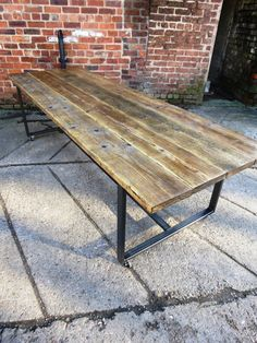 reclaimed industrial chic seater conference office tablebar and cafe restaurant furniture steel and wood made to 354