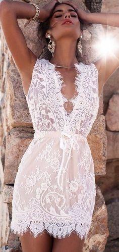 White Plunge Drawstring Waist Sleeveless Chic Women Lace Mini Dress. Women fashion. Bohemian summer dresses. Boho dresses. Beach fashion & Bohem style. Boho fashion. Bohemian style. Gypsy style. #boho #bohemian #gypsy #bohoclothing #bohemianclothing #affiliate #vintage #bohochic #bohostyle #hippiestyle #hippie #beachfashion #bohemiandress #bohodress #summerdress #dress