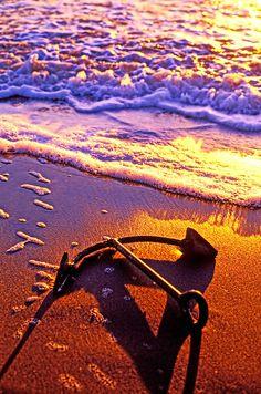 Ships anchor on beach by © Garry Gay, via fineartamerica.com