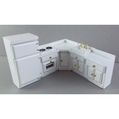Dolls House 1:24 Scale Miniature White Wooden Fitted Kitchen Furniture Set