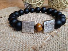 Boutique GARINN , mode de bracelet 2016 , Pierre naturel onyx noir , avec plaque argenté , peut combine avec vêtements noir , rouge , pastels de terre