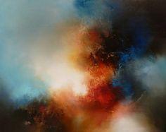 """Gran lienzo de pintura abstracta de artista Simon Kenny """"Cada momento"""""""
