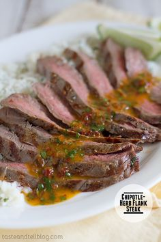 A steak dinner served with a flavorful Chipotle Herb sauce. Photo Updated March 2014 Originally published April 22, 2009 – My daughter has decided that she loves steak, so I've been taking opportunities lately to re-try recipes that I know she will love. I remade this one, and it was a hit! The Chipotle-Herb Butter...