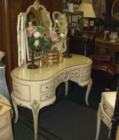 French Louis Style Chateau Vintage Dressing Table Shabby