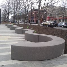 Radius Precast Concrete Bench Construction - Concrete Dimensions - x X Standard Finishes - Acid Wash - Weatherstone Premium Finish - Ground and Polished Weight - 1000 Lbs. Bench Options - Inkjet and Cast In Place Logo Concrete Bench, Precast Concrete, Beton Design, Concrete Design, Preschool Furniture, Curved Bench, Wall Seating, Public Seating, Modern Gardens
