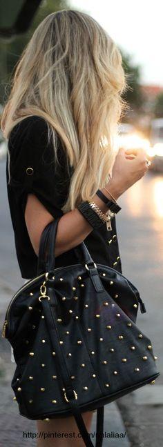 Studded bag... zipper gold bracelet.. :)