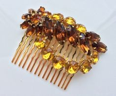 Vintage Amber Rhinestone Gold Bridal Hair Comb Topaz Brown Large 1940s Brooch Autumn Fall Wedding Hair Jewelry Wedding Headpiece Rustic Clip by VintageForAges on Etsy