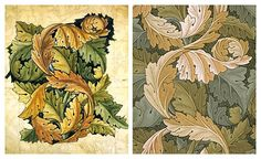 WILLIAM MORRIS (1834-1896) Sketch for Acanthus Wallpaper Pattern, 1874 (pencil and watercolor) Pencil and Watercolor Sketch for Acanthus Wallpaper Pattern, 1874-75