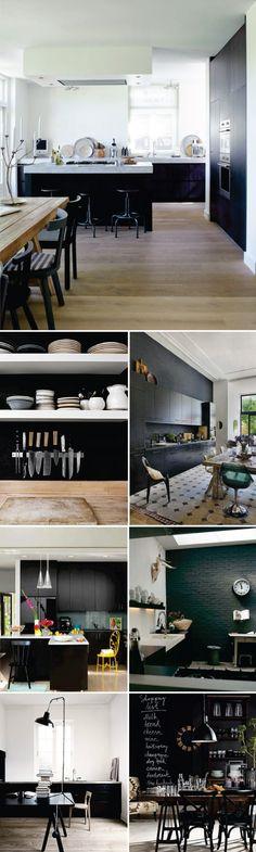 """cozinhas preto e branco podem assustar muitos clientes, pela """"formalidade"""" ou pelo aspecto de frieza...mais se forem dadas a s devidas atenções aos detalhes, como um piso em ladrilho hidráulico, uma mesa de madeira rustica,um objeto colorido...elas podem ser lindas modernas e super cool..."""