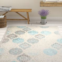New Kallie Quilted Gray Blue Area Rug by Ophelia Co. Rugs Home Decor Furniture. Fashion is a popular style Area Rug Sets, 8x10 Area Rugs, Contemporary Rugs, Modern Rugs, Dorm Rugs, Grey Quilt, Polypropylene Rugs, Blue Area, Living Room Inspiration
