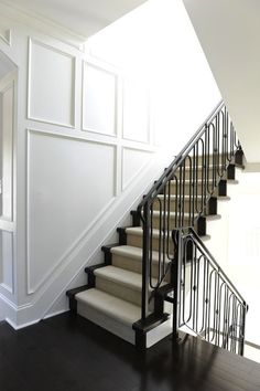 Traditional Stair Idea                             Kerrisdale Design - entrances/foyers - traditional millwork, millwork, stairwell, black floors, ebony floors, ebony hardwood, hardwood floor...