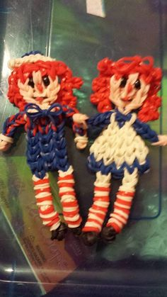 Rainbow Loom RAGGEDY ANN and ANDY. Designed and loomed by Victoria Vera. Rainbow Loom FB page. 03/08/14