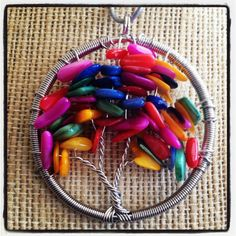 Multicolored Tree of Life Pendant by LittleHouseofVintage on Etsy, $28.00
