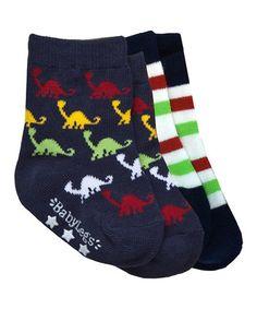 Look what I found on #zulily! Navy & Black Dino Baby Socks Set by BabyLegs #zulilyfinds