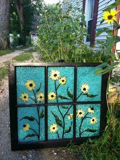 """Driveway Sunflower from Kickin' Glass Kansas Mosaic Art, Mosaic Glass, Mosaics, Stained Glass, Mosaic Windows, Old Windows, Mosaic Ideas, Kansas, Recycling"