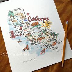 California Map Print - Unframed