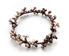 Terhi Tolvanen Necklace: Perles 2012 Faceted pearls, heather wood, silver Ø 19 cm