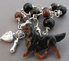 Gordon Setter Dog Bracelet Silver Heart