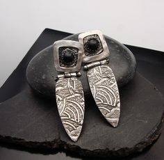 Jungle Fever  Silver and Black Onyx Post by designsbysuzyn on Etsy, $125.00