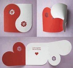 Partecipazione di matrimonio o semplice biglietto d'auguri :-): Love Cards, Diy Cards, Boyfriend Crafts, Boyfriend Card, Heart Cards, Valentine Day Cards, Valentine Heart, Valentine Ideas, Homemade Valentines