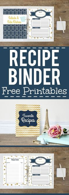 How to Make a Recipe Binder with Free DIY Recipe Binder Printables - Organize all of your favorite recipes and recipes you want to try in one cute place with these cute, pretty, and practical DIY Recipe Binder Printables in 4 different colors. Printable Recipe Cards, Printable Planner, Free Printables, Recipe Printables, Printable Templates, Email Templates, Filofax, Cookbook Storage, Cookbook Ideas