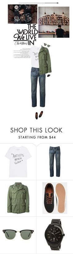 """Taking control"" by miss-milika ❤ liked on Polyvore featuring Urban Pipeline, FAY, Jack & Jones, Ray-Ban, Armani Exchange, men's fashion and menswear"