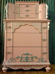 pink chiffon dreams chest, painted furniture, Stencil creme is great for accenting moldings
