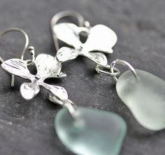 Sea Glass Earrings, Aqua Sea glass. sea glass jewelry.