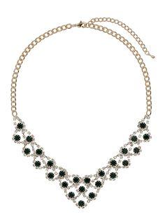 Emerald Stone Sparkle Collar - Jewelry - Accessories - Miss Selfridge US