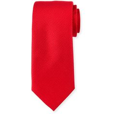 Neiman Marcus Textured Silk Tie ($31) ❤ liked on Polyvore featuring men's fashion, men's accessories, men's neckwear, ties and red