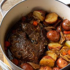Stout & Shiitake Pot Roast Recipe -Mushrooms, onions and a bottle of Guinness add excellent flavor to my pot roast. This one-dish wonder may taste even better the next day. —Madeleine Bessette, Coeur d Alene, Idaho Meat And Potatoes Recipes, Pot Roast Recipes, Beef Recipes, Dinner Recipes, Cooking Recipes, Game Recipes, Onion Recipes, Oven Cooking, Kitchens