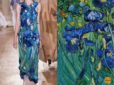 "Fashion & Flowers. Maison Martin Margiela F/W 2014/15 & ""Irises"" - Vincent van Gogh, 1889 (detail). Collage by Liliya Hudyakova"