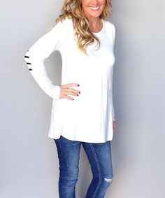 Striped Elbow-Patch Tunic