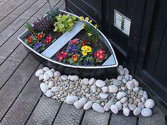 Boat Planter Wooden Garden Ornament Hand Made | eBay