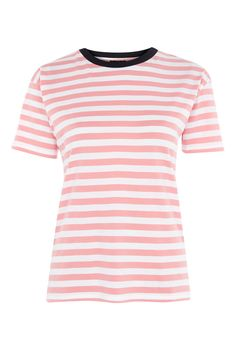 Stripe Contrast Neck T-Shirt