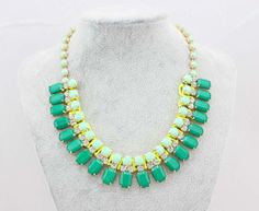 Green Statement Necklaces Trendy Costume Necklace by Statement21