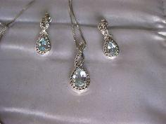 Blue Topaz & Diamond Accent Silver-Plated Teardrop Halo Pendant Necklace/Earring