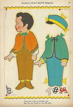 Vintage Paper Doll, Tom by shelece, via Flickr * 1500 free paper dolls Christmas gifts artist Arielle Gabriels The International Paper Doll Society also free paper dolls The China Adventures of Arielle Gabriel *