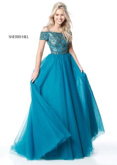 Sherri Hill 51450 Jeweled Cold Shoulder Ball Gown